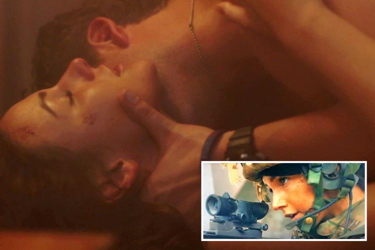 Michelle Keegan romps with co-star Ben Alrdridge in Our Girl – but viewers are distracted by big military blunder