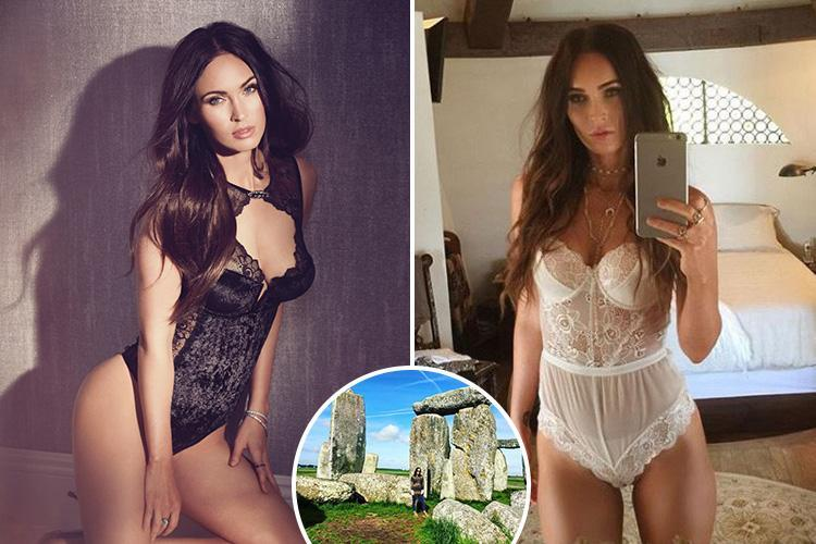 Megan Fox poses in a black bodysuit before taking a trip to Stonehenge