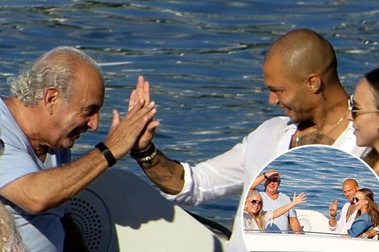 Sir Philip Green beams as he high-fives daughter Chloe's 'hot felon' fiance Jeremy Meeks on Mykonos holiday