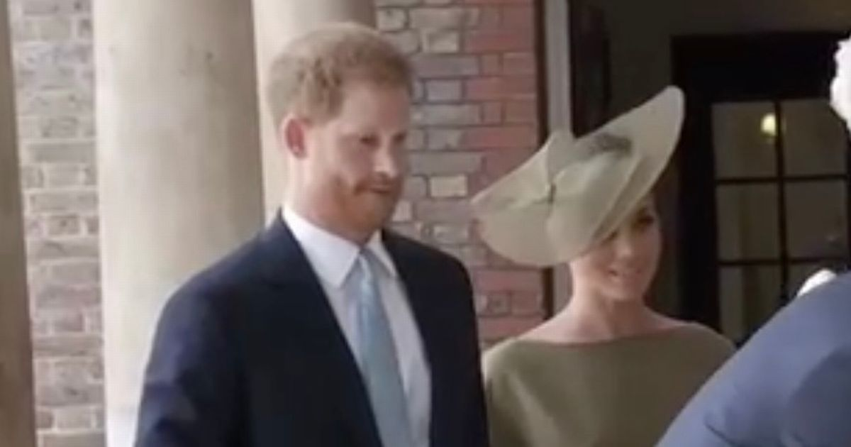 Meghan Markle arrives for Prince Louis's christening holding hands with Harry