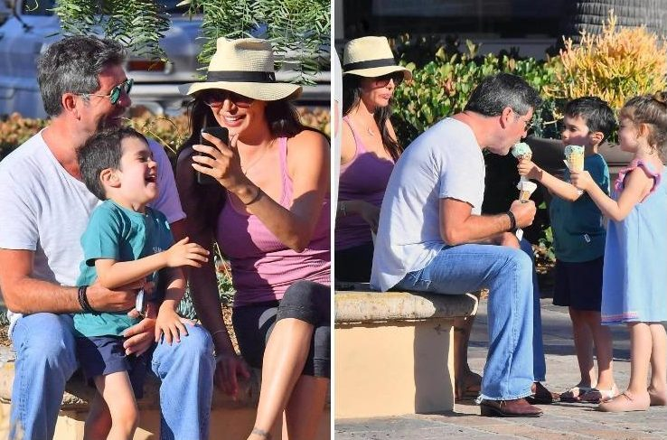 Simon Cowell laughs and eats ice cream as he enjoys family day out with son Eric and girlfriend Lauren Silverman