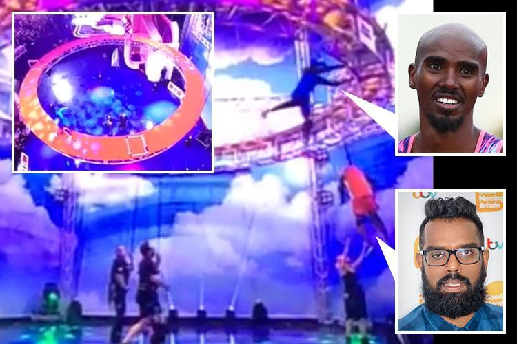 Shocking moment Sir Mo Farah smashes his face on the side of metal set on A League Of Their Own