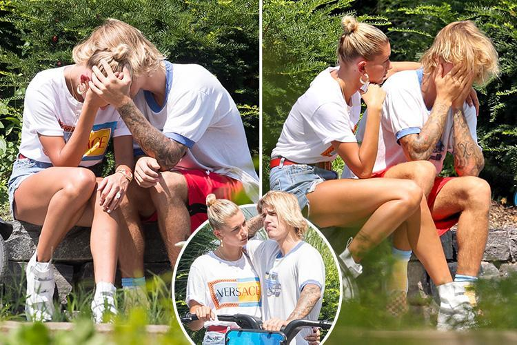 Justin Bieber and Hailey Baldwin burst into tears in the street after emotional heart-to-heart