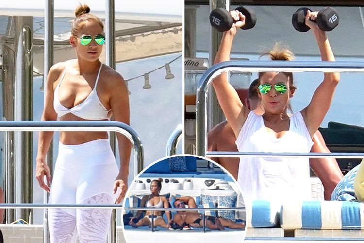 Jennifer Lopez works out on the deck of a super-yacht on romantic holiday in Italy with boyfriend Alex Rodriguez