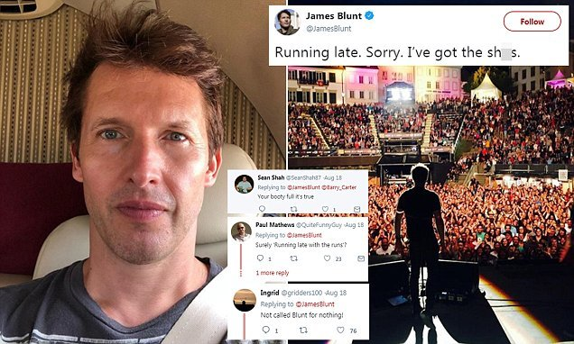 James Blunt admits he's late for a concert because he 'has sh**s'