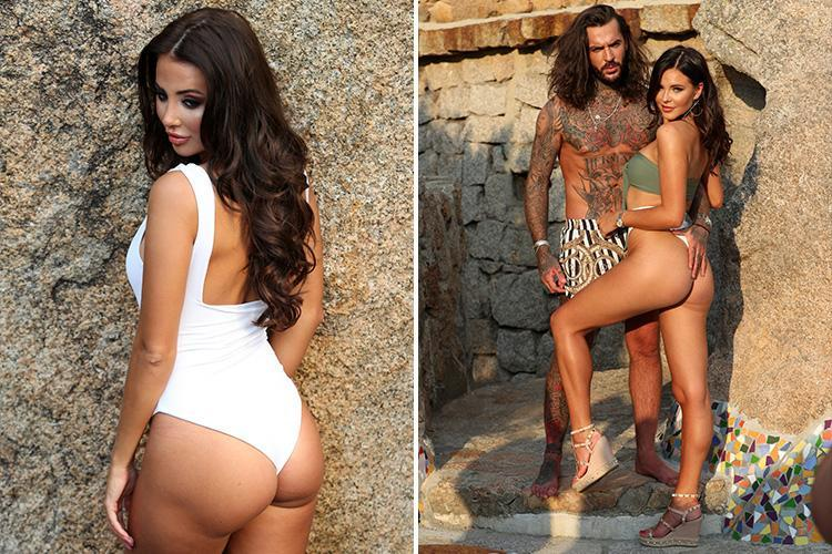 Towie's Pete Wicks has a cheeky feel of girlfriend Shelby Tribble's bum during a beach photoshoot with James Locke and Yazmin Oukhellou