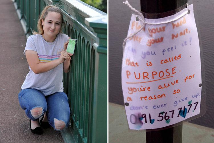 Inspiring teenager driven to brink of suicide after brutal rape saves the lives of 8 people by posting 'notes of hope' on bridge