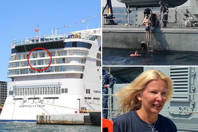 Miracle Brit air hostess, 46, 'climbed railing and jumped off cruise ship's 4ft barrier after drunken row with boyfriend' before surviving 10 hours at sea