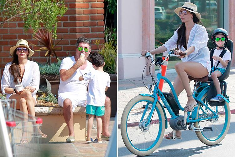 Simon Cowell and partner Lauren Silverman take adorable son Eric for an ice cream during family bike ride in Malibu