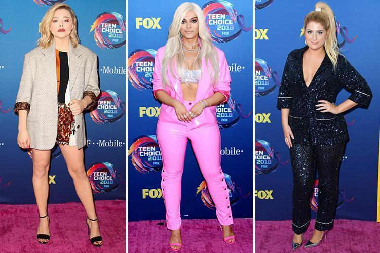 Chloe Grace Moretz is stony faced at Teen Choice Awards with Megan Trainor and Bebe Rexha after taking a swipe at ex Brooklyn Beckham