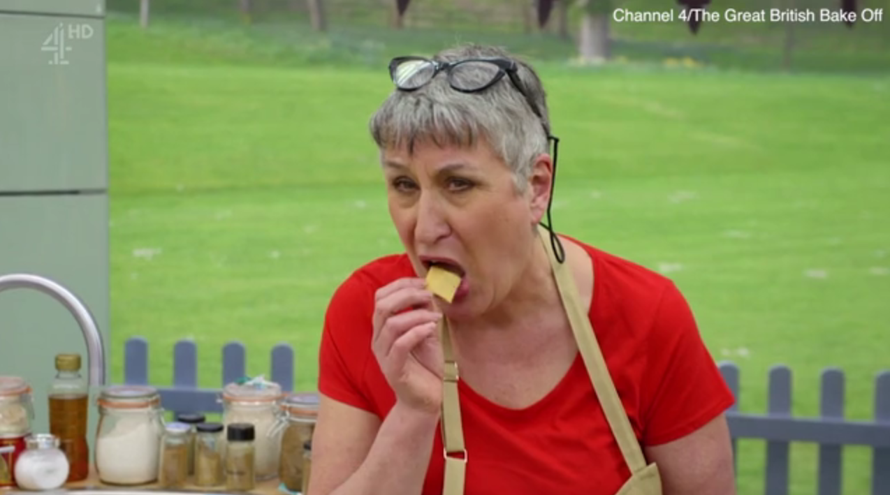 Great British Bake Off fans name Karen their 'new favourite' after they spot her eating crisps as the other contestants panic