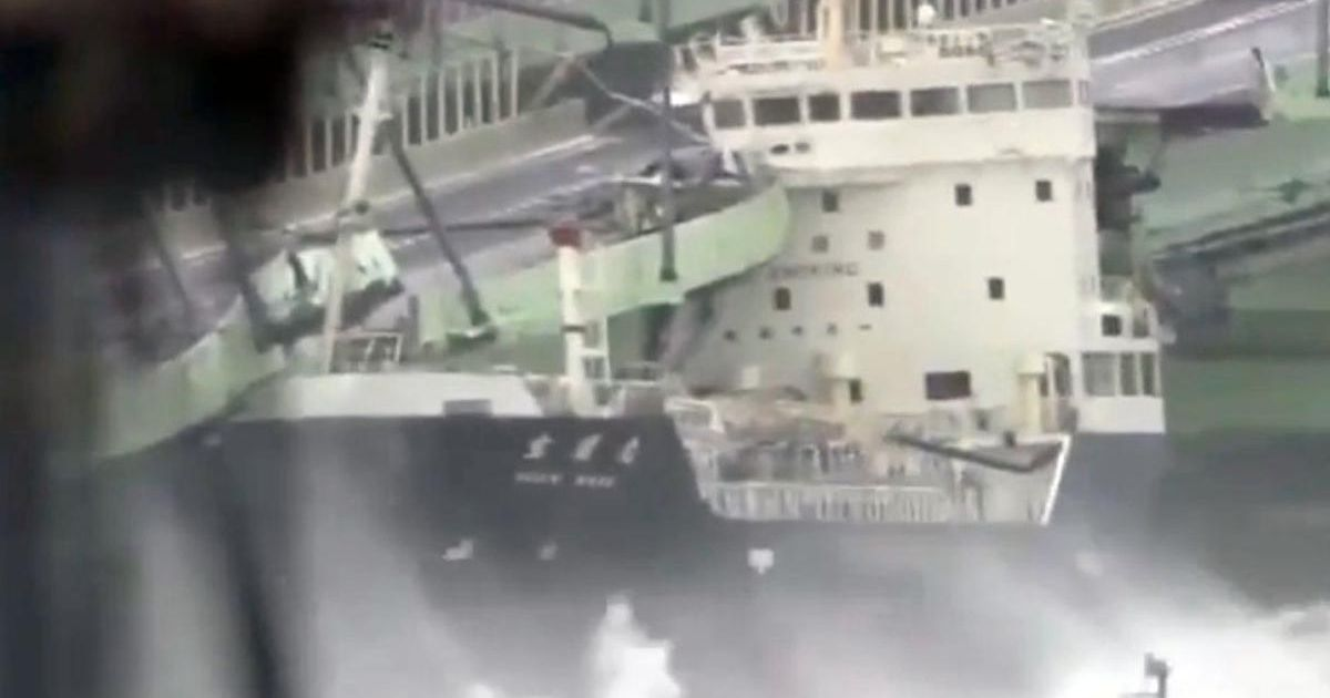 Huge fuel tanker smashes into bridge during Japan's strongest storm in 25 years