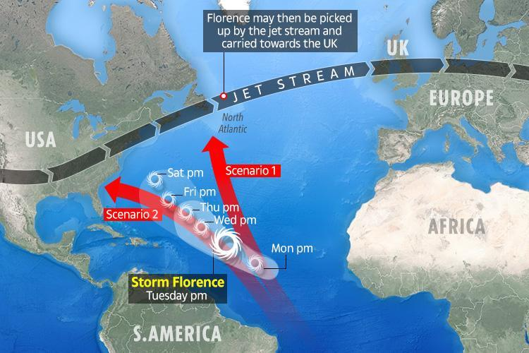 UK weather sees Storm Florence threaten Britain with 65mph winds and heavy rain – and it may become a HURRICANE