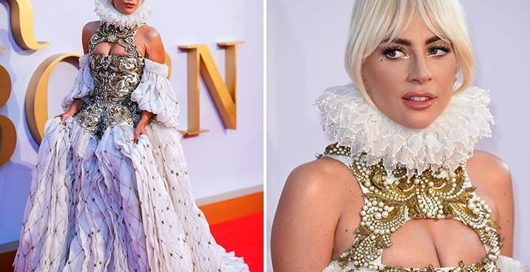 Lady Gaga dresses up as a Tudor queen in a ruff and busty bodice at London premiere of A Star Is Born