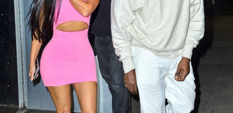 Painting the Town Pink! Kim Kardashian Flaunts Her Curves During N.Y.C. Outing with Husband YE