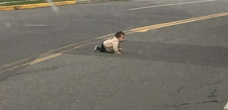 Infant unharmed after spotted crawling across a road in New Jersey