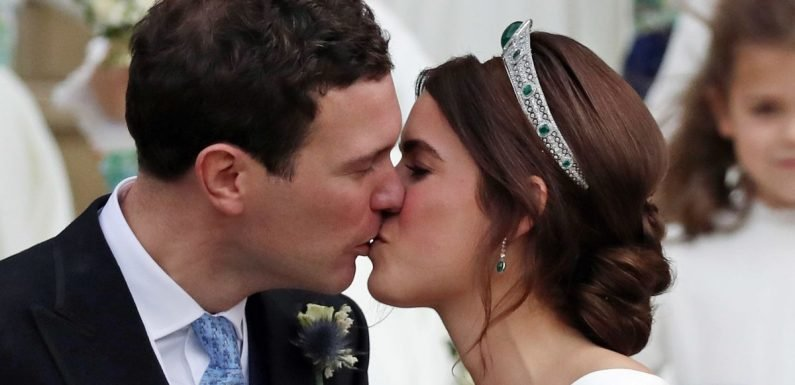 Eugenie and Jack Brooksbank kiss after leaving church as husband and wife