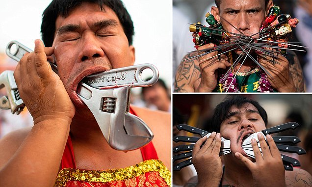 Vegetarian festival sees devotees piercing their face with sharp items