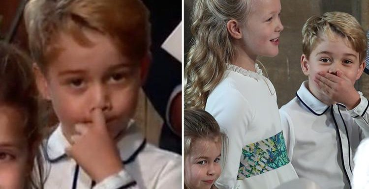 Cheeky Prince George giggles and 'picks his nose' at Princess Eugenie's wedding
