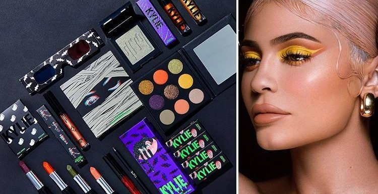 When does Kylie Jenner's Halloween makeup kit go on sale and what's included in the Kylie Cosmetics kits?