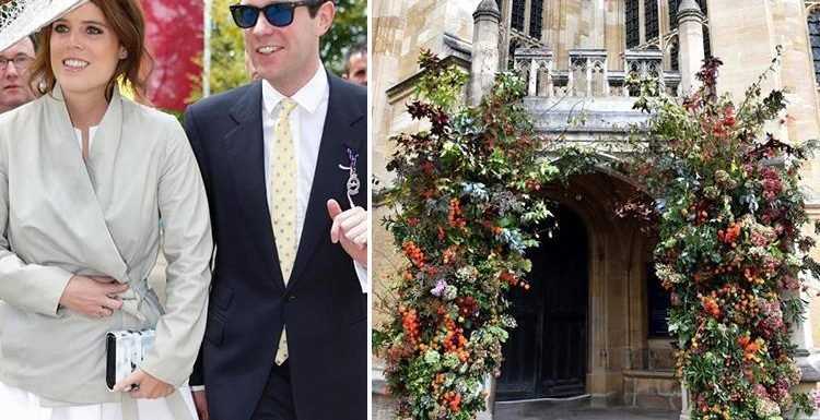 Which flowers have Princess Eugenie and Jack Brooksbank chosen for their wedding in St George's Chapel in Windsor