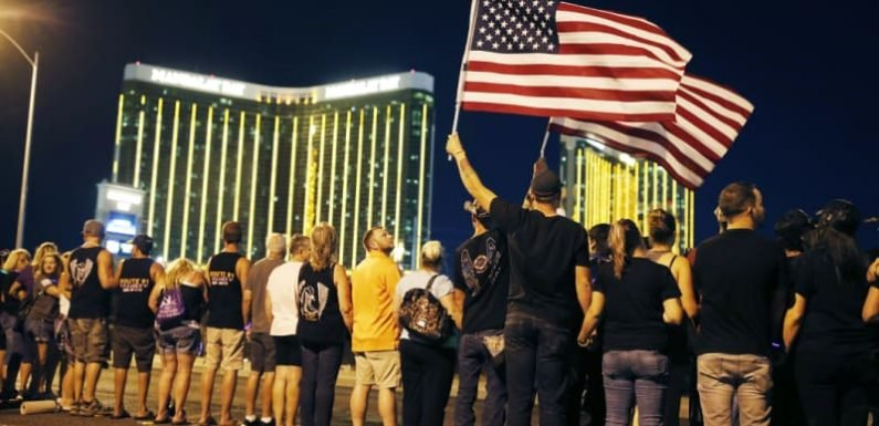 Vegas shooting survivors form human chain