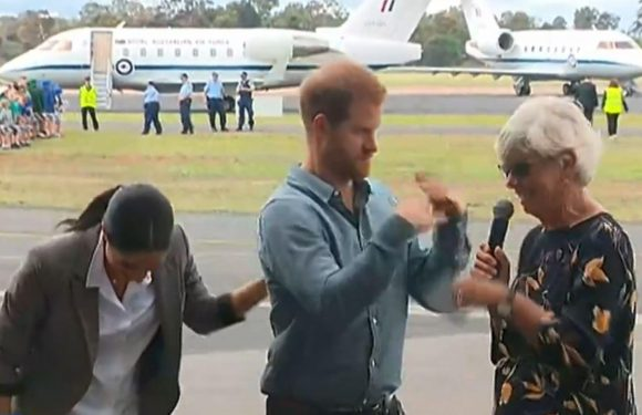 Hilarious moment Prince Harry swats away flies as woman delivers emotional speech – as Meghan Markle cracks up