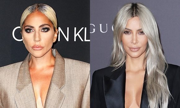Lady Gaga & Kim Kardashian Look Like Twins In Oversized Suits & Sexy Platinum Blonde Hair — See Pics