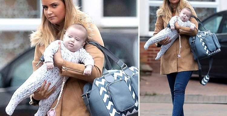 Jacqueline Jossa leaves Dan Osborne at home as she cradles baby Mia on a day out in Kent
