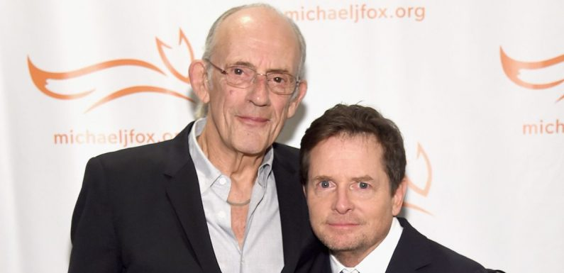 Doc and Marty reunite as Michael J Fox and Christopher Lloyd pose on red carpet