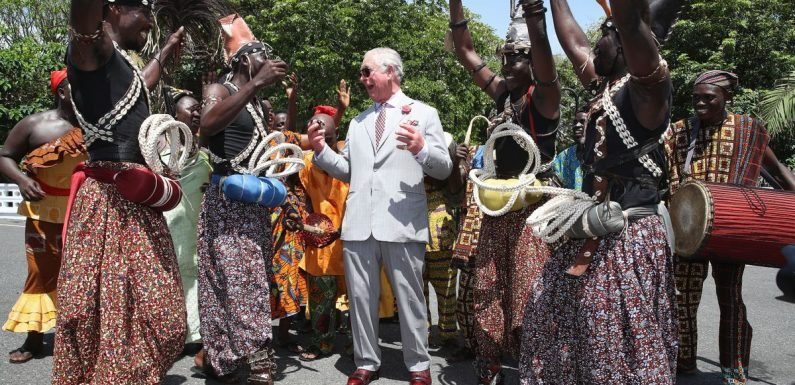 Prince Charles struts his stuff with traditional dancers in Ghana