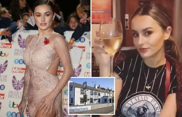 Terrified Amber Davies screams as she's rushed to hospital after collapsing in pub amid fears her drink was spiked