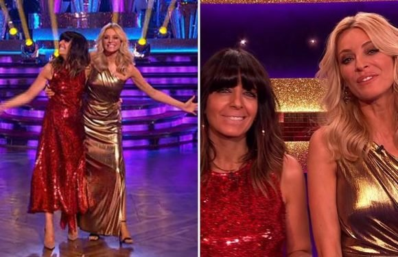 Strictly viewers compare Tess Daly & Claudia Winkleman's outfits to Quality Street wrappers as they host glitzy Blackpool show