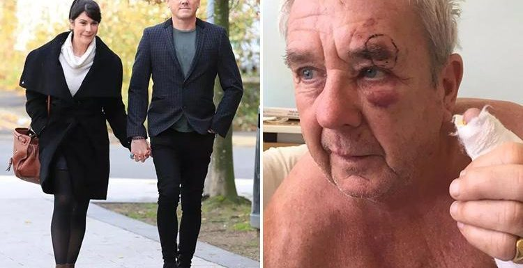 Emmerdale actor Mark Jordon denies biting pensioner during pub row after arriving at court with co-star girlfriend