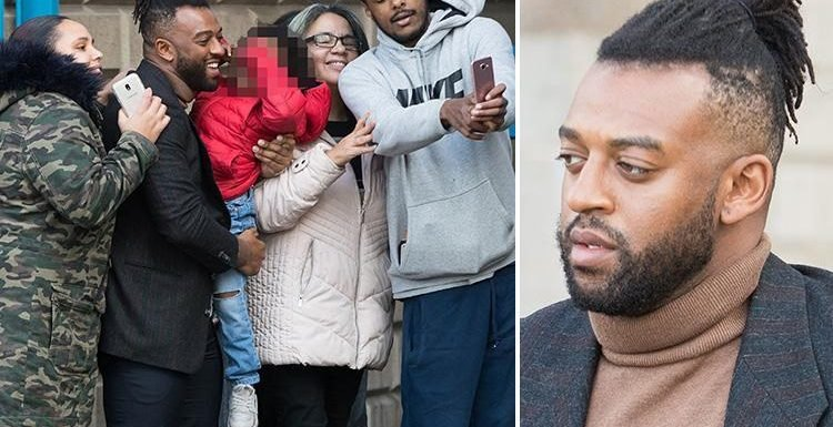 JLS star Oritse Williams jokes and poses for selfies with fans outside court after denying hotel rape