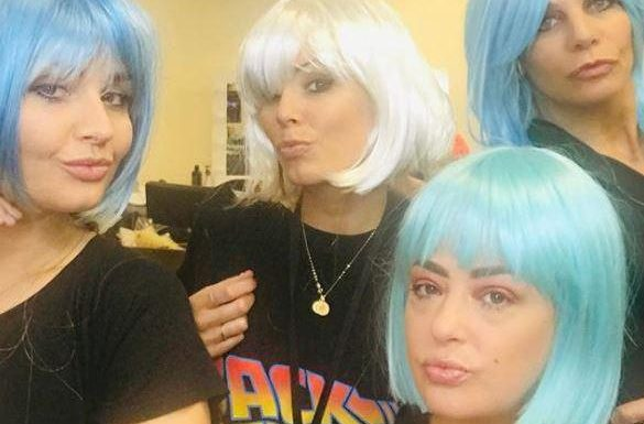 Lisa Armstrong reveals shock new look in a blue wig as she larks around with pals on Strictly after court hearing over Ant McPartlin's £62m fortune