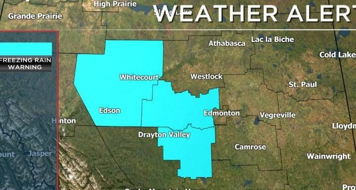 Freezing rain warnings in place for parts of central Alberta, Friday commute could be slow