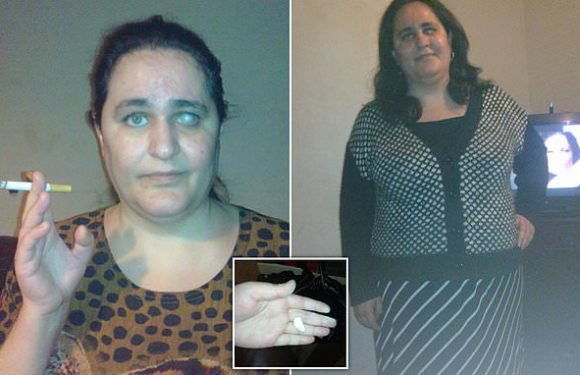 Blind mum-of-two, 42, is addicted to munching on CHALK and CIGARETTES