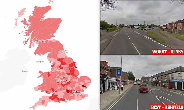 Map shows where British motorists have most points on their licence