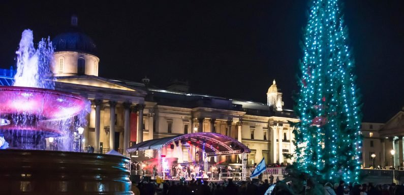 When do the Trafalgar Square Christmas tree 2018 lights switch on and who will perform?
