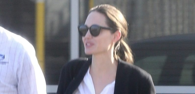 Angelina Jolie Is All Smiles Arriving at Burbank Airport!