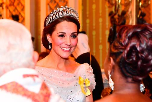 Kate Middleton dazzles in Jenny Packham dress – and Princess Diana's diamond and pearl tiara