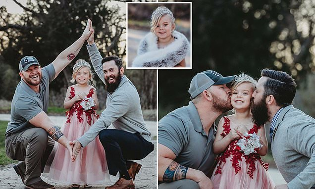 Pictures of young girl with her biological dad and stepdad goes viral