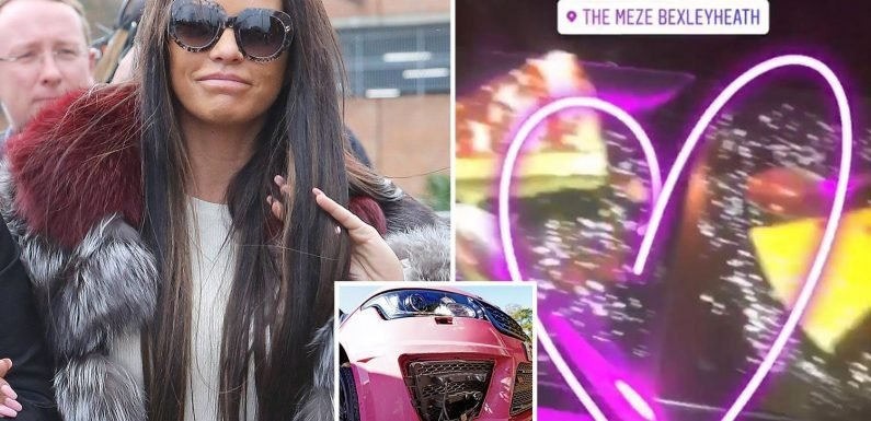 Katie Price returns to the scene of her 'drink-drive drama' the night before facing court and pleading NOT guilty