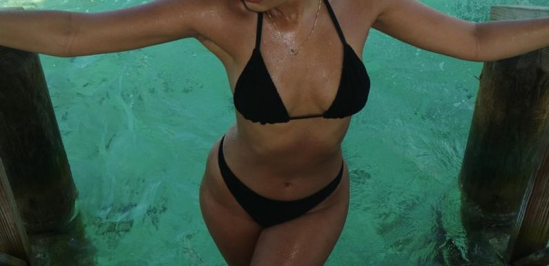 Little Mix's Leigh-Anne Pinnock stuns followers as she climbs out of the ocean in a black bikini on holiday in Jamaica