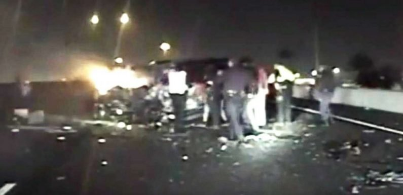 Dramatic video shows civilians, police rescue elderly man from burning car