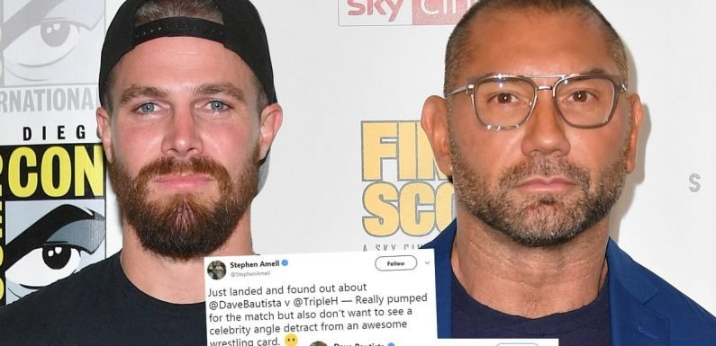 Stephen Amell Begs Dave Bautista 'Please Don't Kill Me' After Angering WWE Star in Accidental Twitter Beef