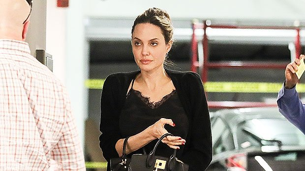 Angelina Jolie Wears Black Lace Top & Leggings On Day Out Without Kids