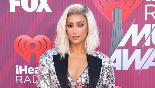 Shay Mitchell Flaunts Blonde Hair Makeover At iHeartRadio Music Awards