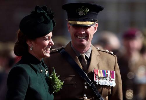 Kate Middleton marks St Patrick's Day with the Irish Guards in chic emerald ensemble